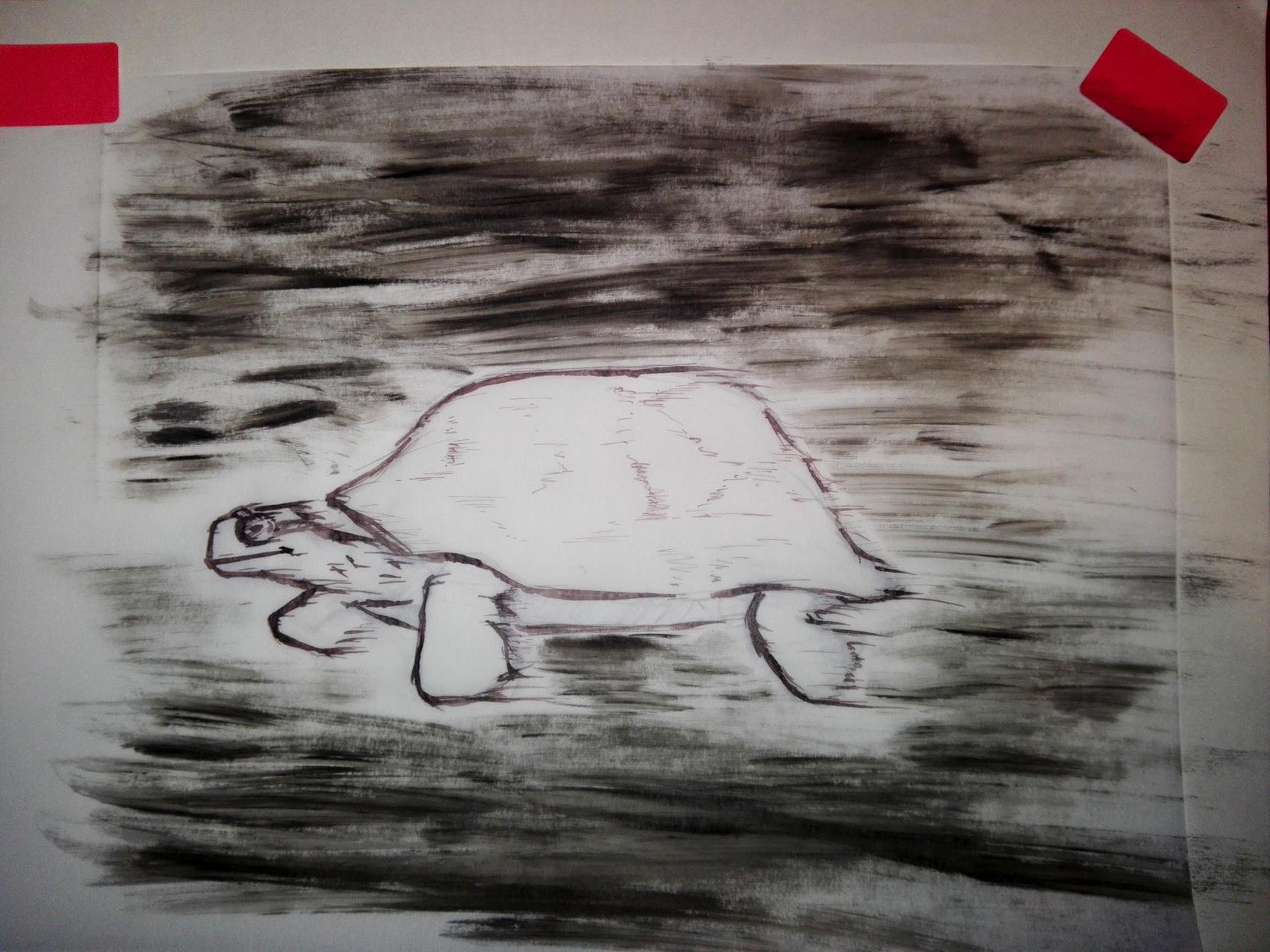 """Inktober 1: """"Speed"""". eine dahinrasende Schildkröte, in Tusche."""